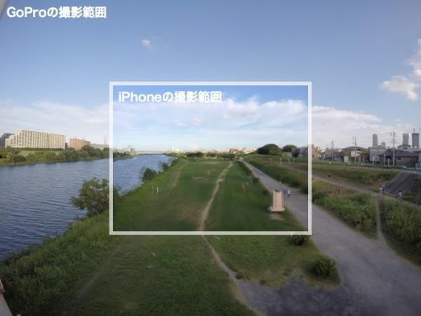 GoProとiPhoneの視野角比較
