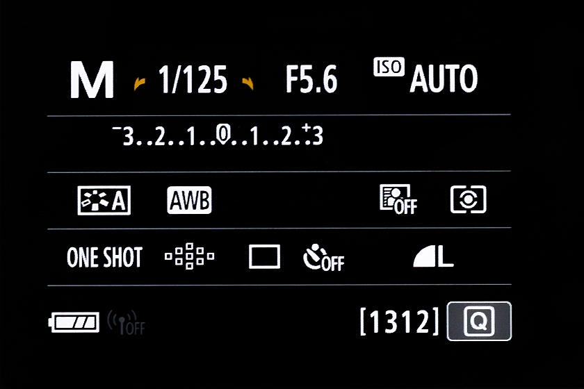 一般的な一眼カメラ 設定画面