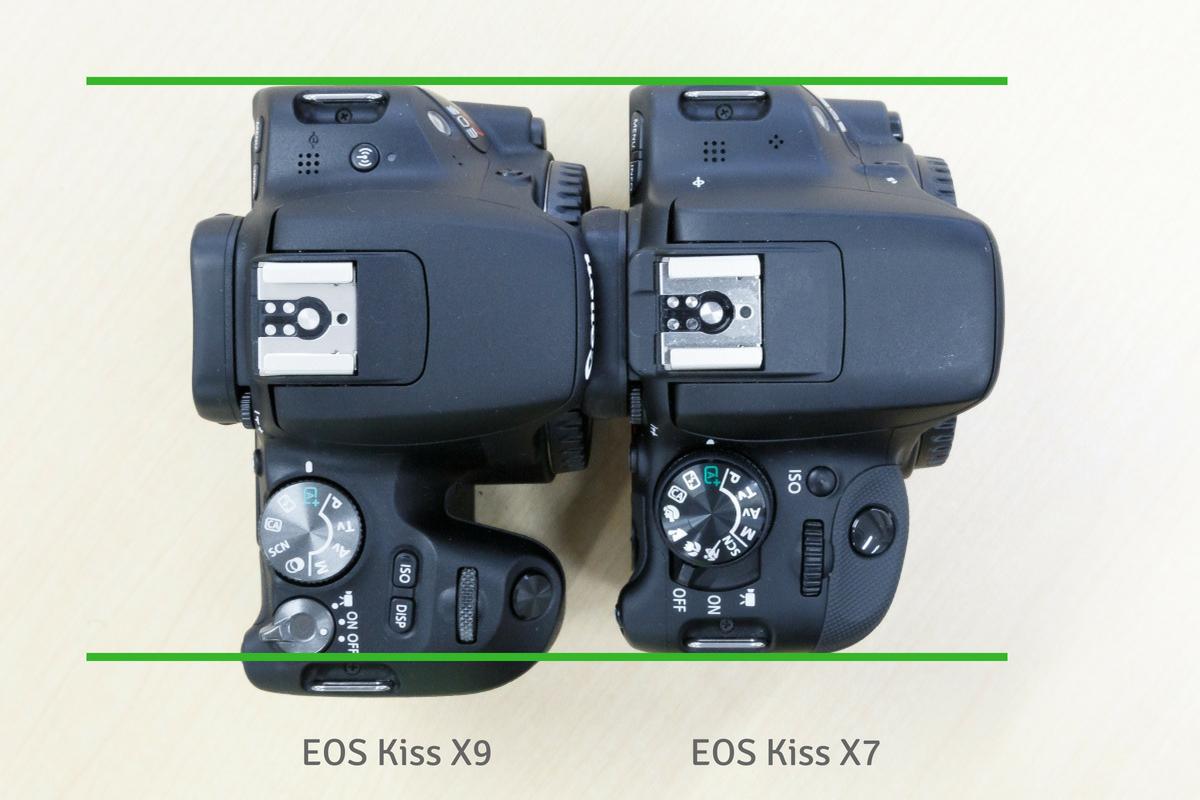 EOS Kiss X7 X9 大きさ比較