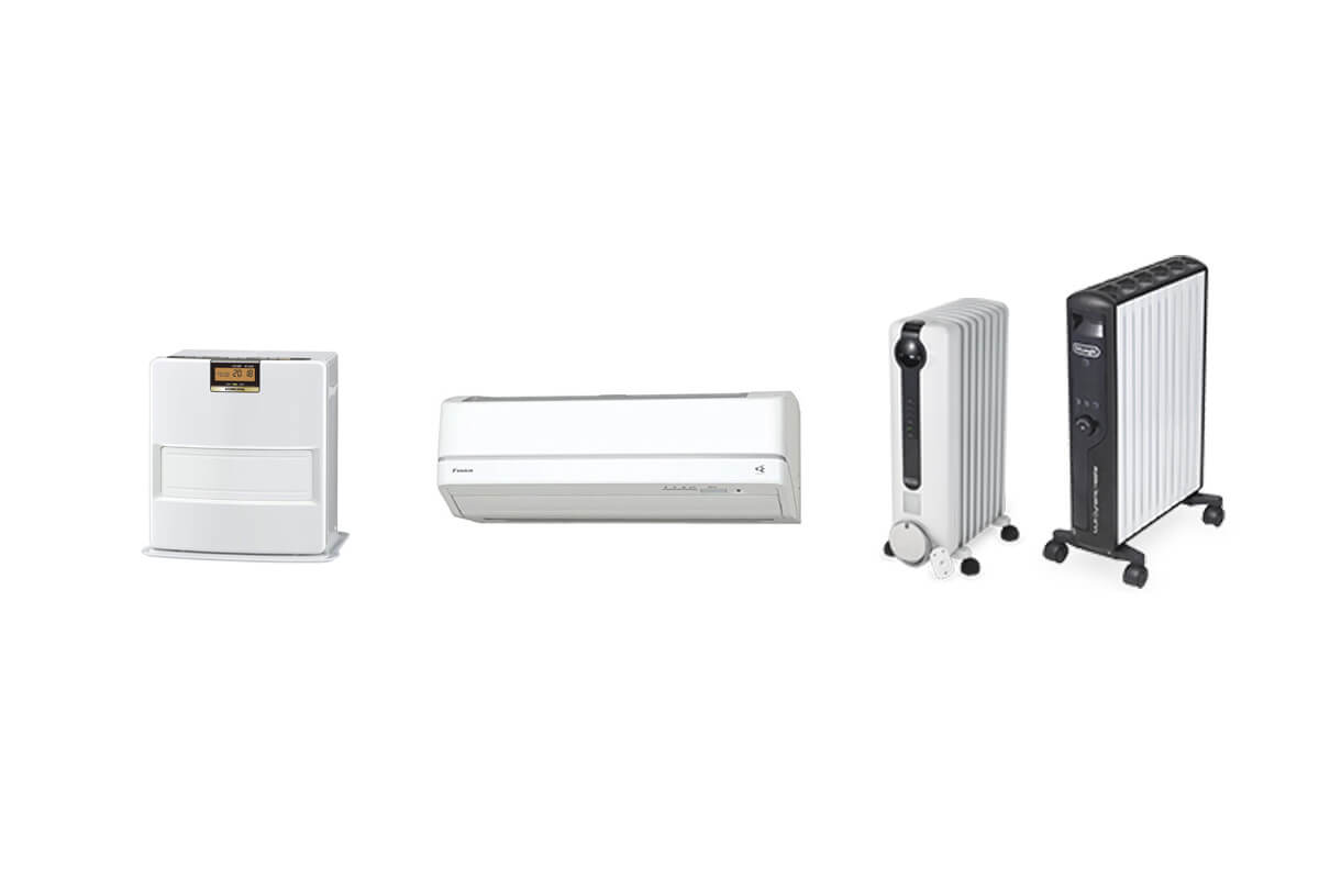 定番暖房機器の違いを6項目で比較!エアコン・ストーブ・オイルヒーター…一番おすすめの暖房は?