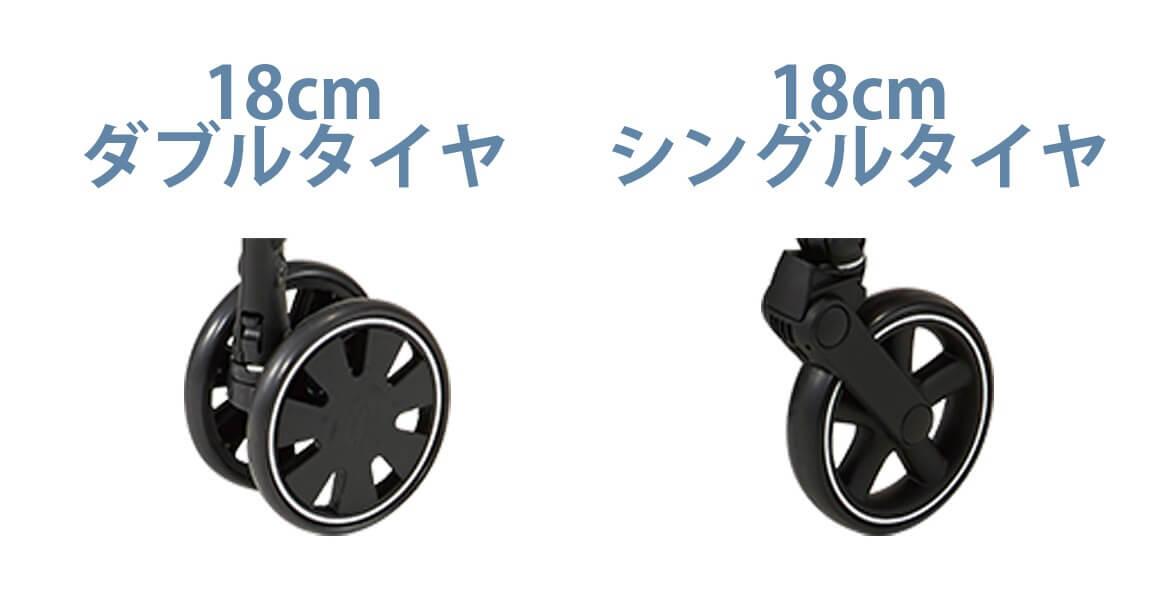 コンビのベビーカーAttO(アット)3タイプの違い タイヤ前輪部分