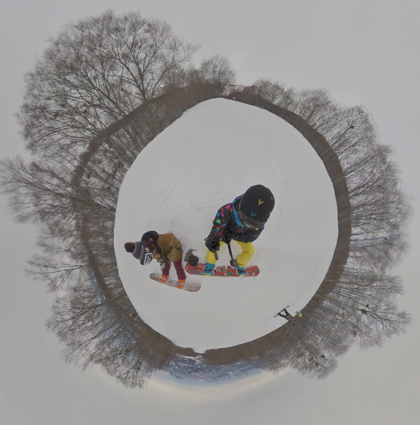 """360度カメラ""""THETA V""""と""""insta360 ONE X""""のゲレンデ撮影での失敗と注意点"""