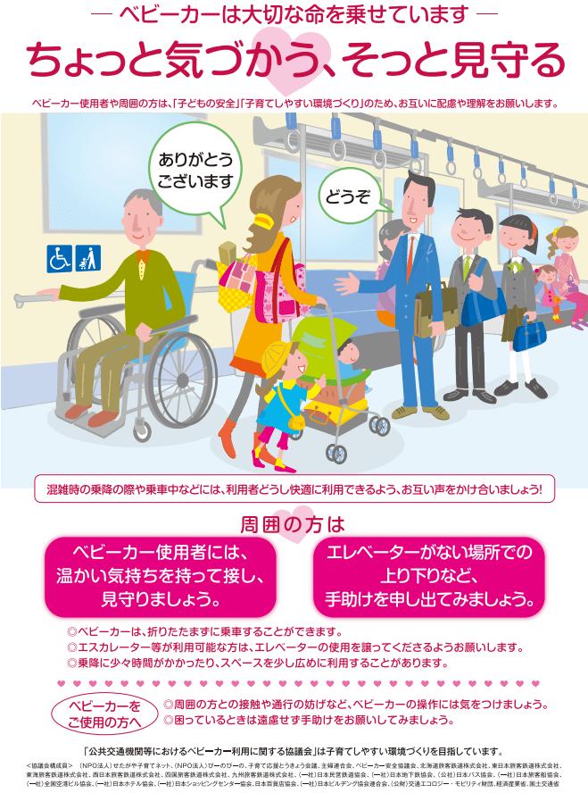 ベビーカーは畳まずに電車に乗せられる? 公共交通機関等におけるベビーカー利用に関する協議会啓蒙ポスター