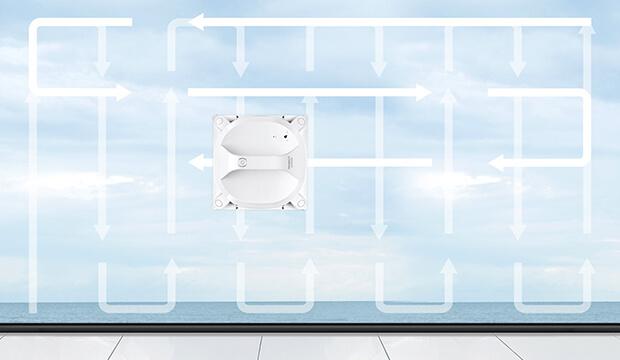 WINBOT X メリット 2. 丁寧な4段階清掃+二度拭きモード