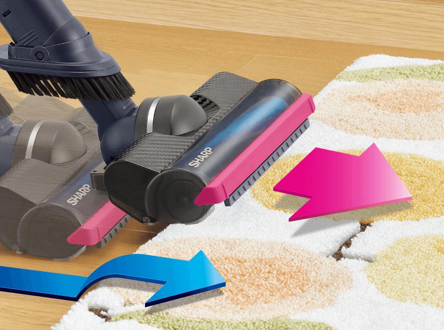 シャープのコードレススティック掃除機を5つの選び方で比較 2. モーターヘッドを比較 ラグ越え機能