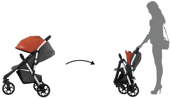 コンビのベビーカースルーラーLHの特長 使いやすさにも工夫 片手で押しやすく開閉もできる