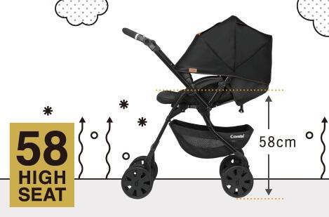 コンビのベビーカーX5(クロスゴー)の特長 赤ちゃんを守る5つの機能 58㎝ハイシート