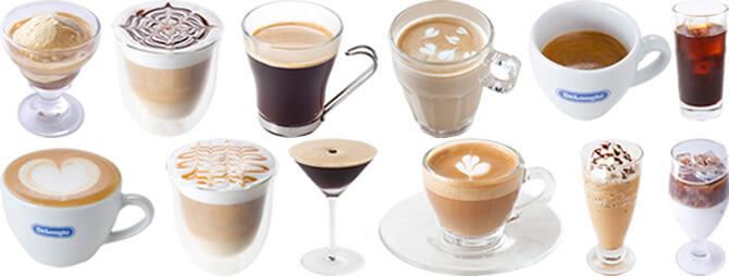 デロンギの全自動コーヒーメーカー「プリマドンナXS」の特長 すべてが全自動。誰でも簡単に本格的なカフェメニューを楽しめる 豊富なプリセットメニュー