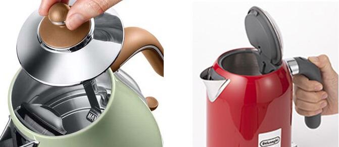 デロンギ電気ケトルの違いを4つのポイントで比較 フタの開け方