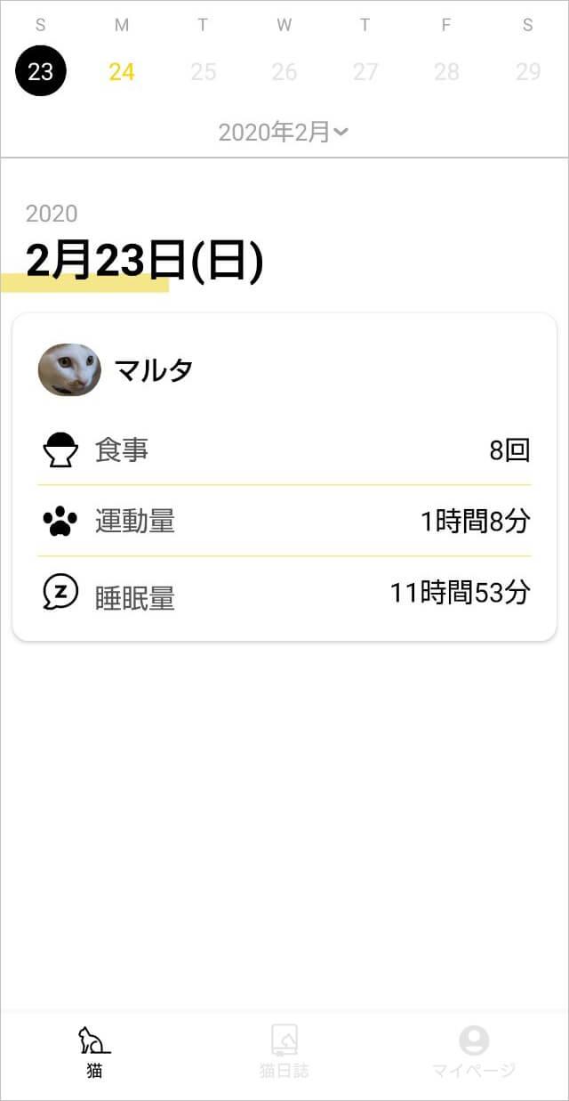 Catlogのある生活を体験!猫様の行動を見守ってみた 実際のCatlogアプリ画面 「猫日誌」で数字データを確認できる
