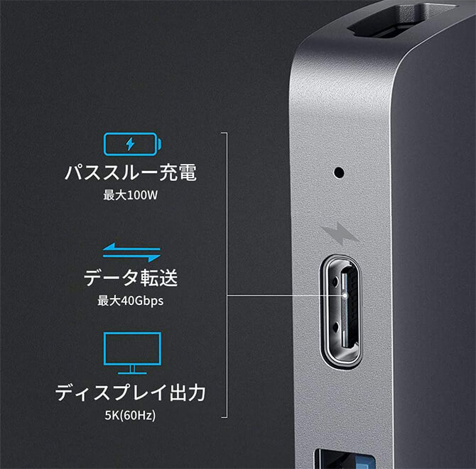Anker PowerExpand Direct 7-in-2 USB-C PD メディア ハブの高速給電&Thunderbolt3対応