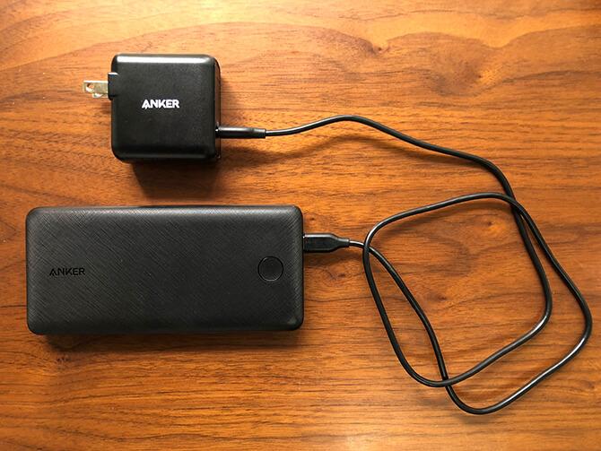 Anker PowerCore Essential 20000 PDの本体充電