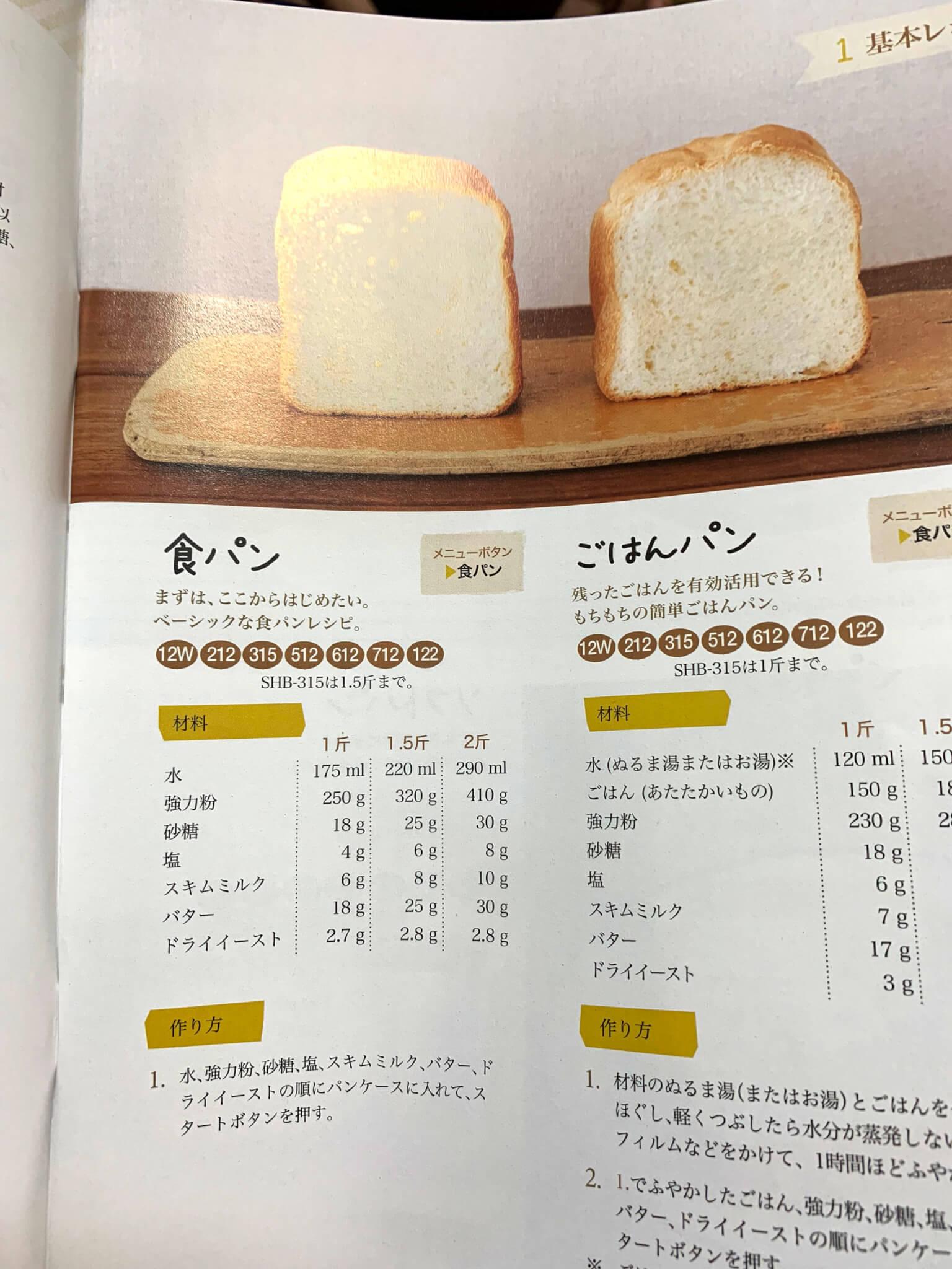 sirocaホームベーカリーSHB-712 まずは基本のパン作り