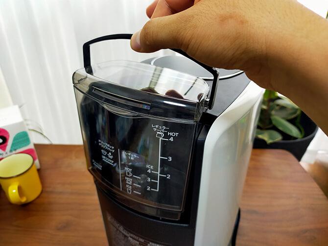 タイガーのコーヒーメーカーACT-E040の着脱式水タンク