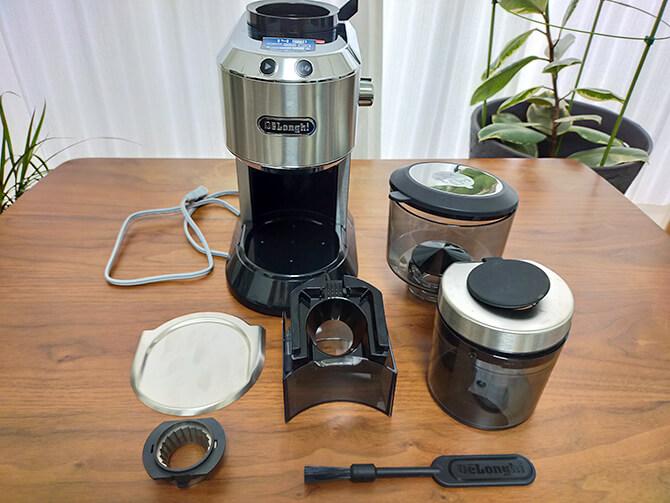デロンギの電動コーヒーミル「デディカ KG521J-M」のセット内容