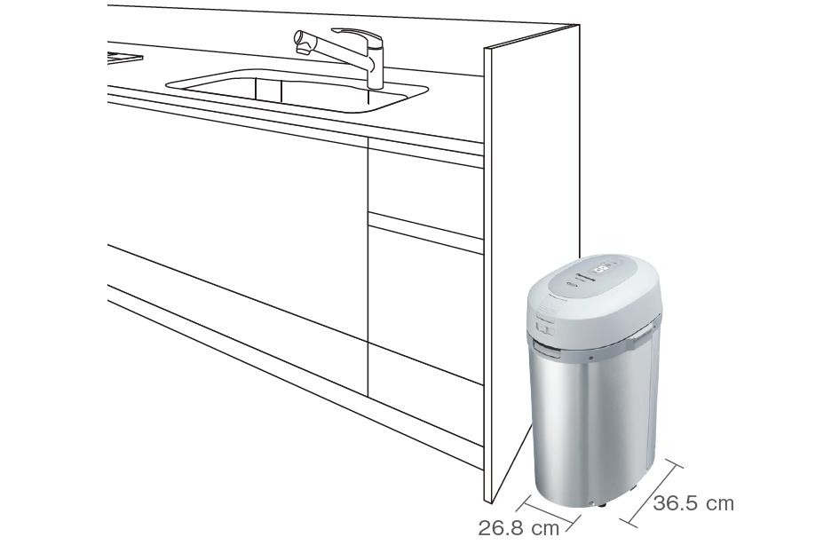 パナソニックの生ごみ処理機「リサイクラー MS-N53XD」 3. 大容量なのに小型でスリムなデザイン