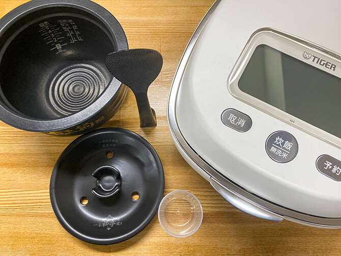 タイガーの炊飯器「JPL-A100」の同梱物