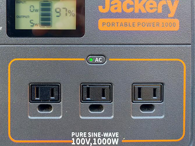 Jackeryのポータブル電源 1000の定格出力は1000W