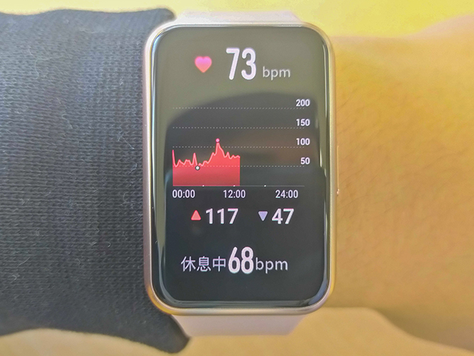 HUAWEI WATCH FITの心拍数測定