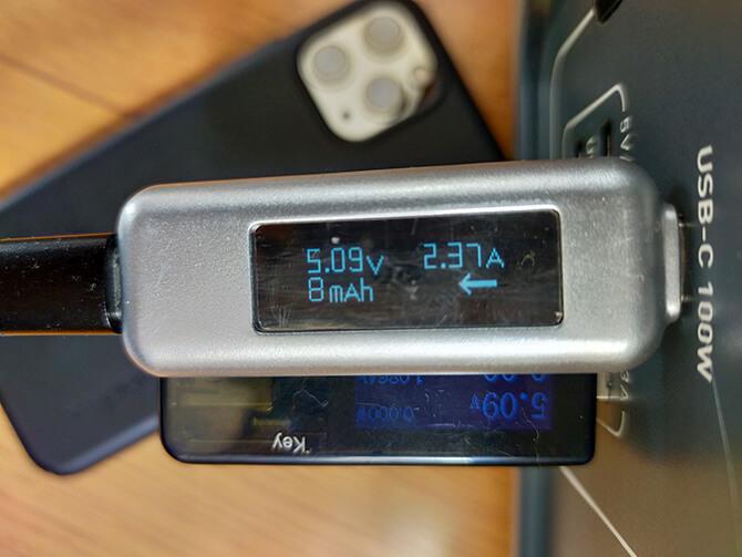 BLUETTI EB55のUSB-C出力テスト