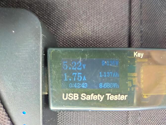 CHOETECH 120WソーラーパネルのUSB-A出力のテスト