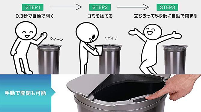 JOBSON JB03はスライド式の自動開閉ゴミ箱