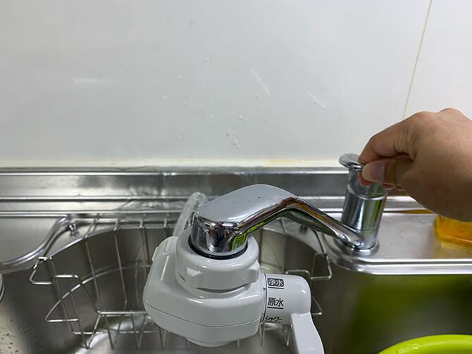 パナソニックのアルカリイオン整水器 TK-AS47の水切り替えレバーの設置方法