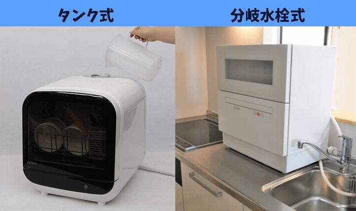 卓上型食洗機の2つの給水方法「分岐水栓」「タンク式」
