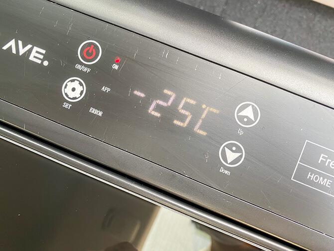 JAPAN AVE.の車載冷蔵庫JA2800のLEDディスプレイ