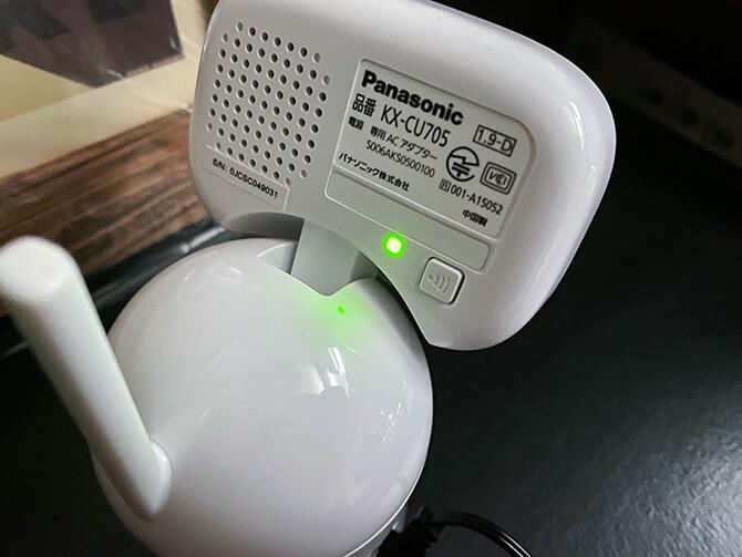 パナソニックのベビーモニター KX-HC705-Wのカメラ点灯ライト