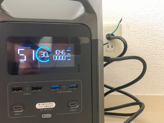 EcoFlow EFDELTAは充電時間が短い