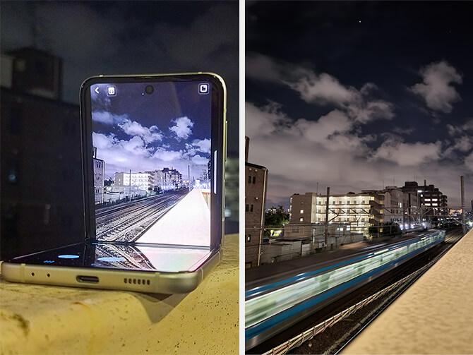 Galaxy Z Flip3 5Gのナイトモード撮影