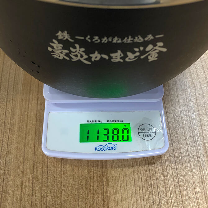 象印の炎舞炊き NW-LB10の豪炎かまど釜は1kg超
